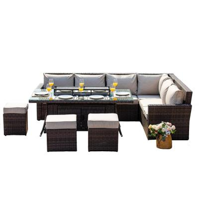 Beverly 8-Piece Wicker Patio Fire Pit Conversation Set with Beige Cushions