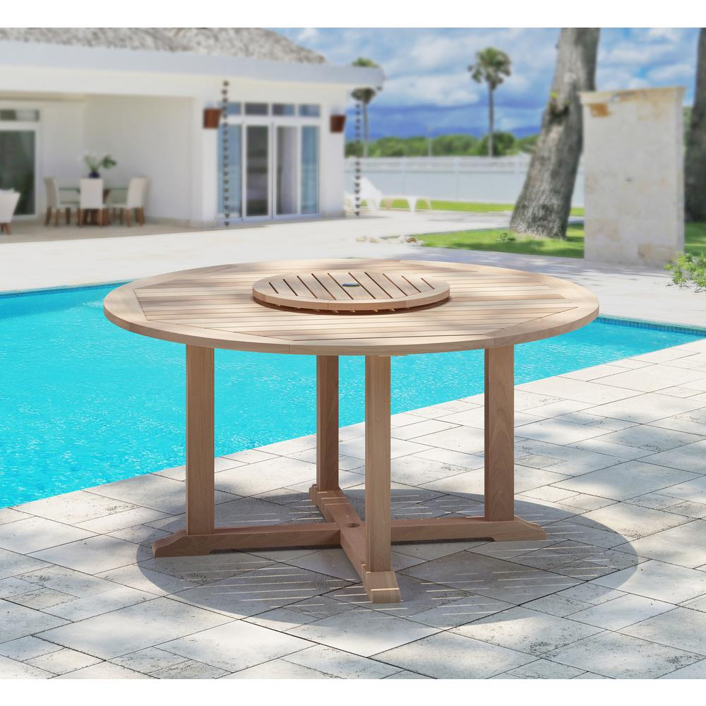 Internet 307832938 Natural Teak Outdoor Dining Table With Lazy Susan