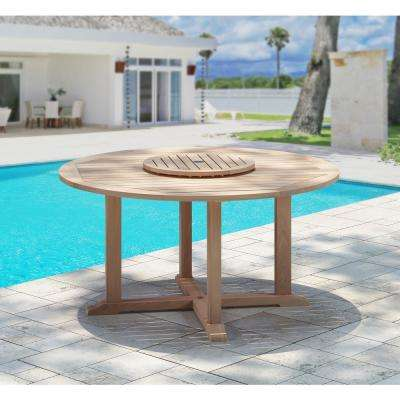 Natural Teak Outdoor Dining Table with Lazy Susan