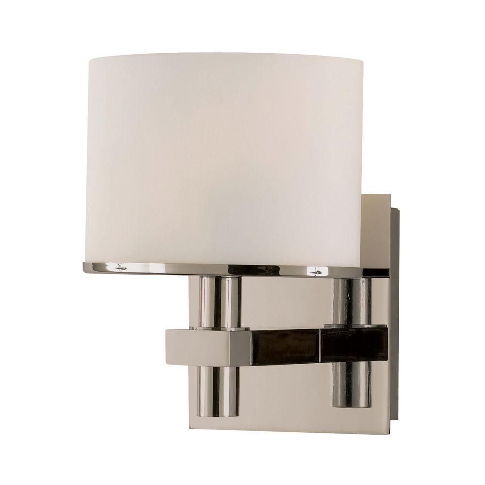 Ombra 1-Light Satin Nickel Vanity Light with White Opal Glass