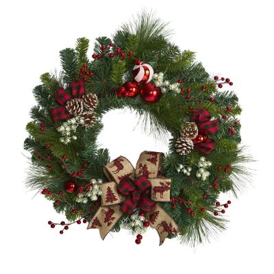 24 in. Christmas Pine Artificial Wreath with Pine Cones and Ornaments