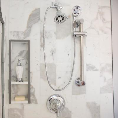 3-Spray 5 in. Single Wall Mount Fixed Adjustable Shower Head in Polished Chrome