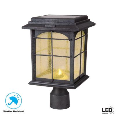 Solar Outdoor Hand-Painted Sanded Iron Post Lantern with Seedy Glass Shade