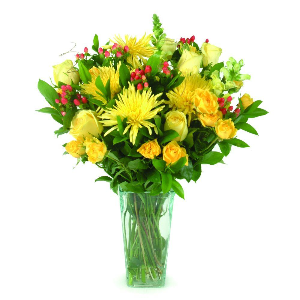 The Ultimate Bouquet Summer Bouquet - Gorgeous Fresh Cut Flowers in a Clear Vase, Overnight Shipping Included-DISCONTINUED
