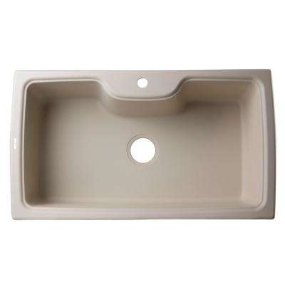 Drop-In Granite Composite 34.63 in. 1-Hole Single Bowl Kitchen Sink in Biscuit