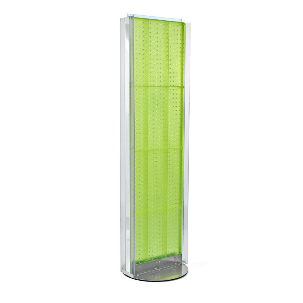 Azar Displays 60 in. H x 16 in. W Pegboard Floor Display in Green with C-Channel Sides on a Revolving Base