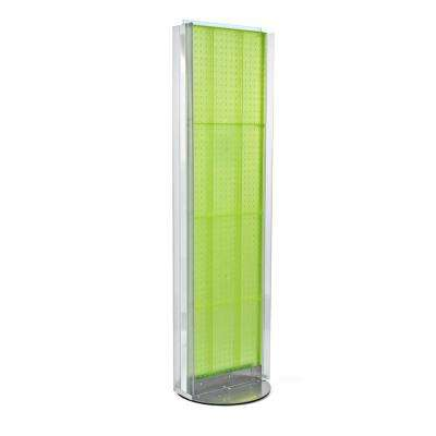 60 in. H x 16 in. W Pegboard Floor Display in Green with C-Channel Sides on a Revolving Base
