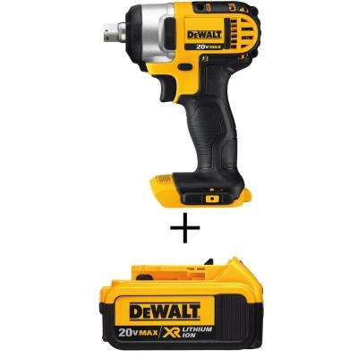 1/2 in. 20-Volt MAX Lithium-Ion Cordless Impact Wrench Kit with Detent Pin with Free Premium Battery Pack 4.0 Ah