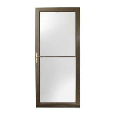 36 in. x 80 in. 3000 Series Terratone Left-Hand Self-Storing Easy Install Aluminum Storm Door with Brass Hardware