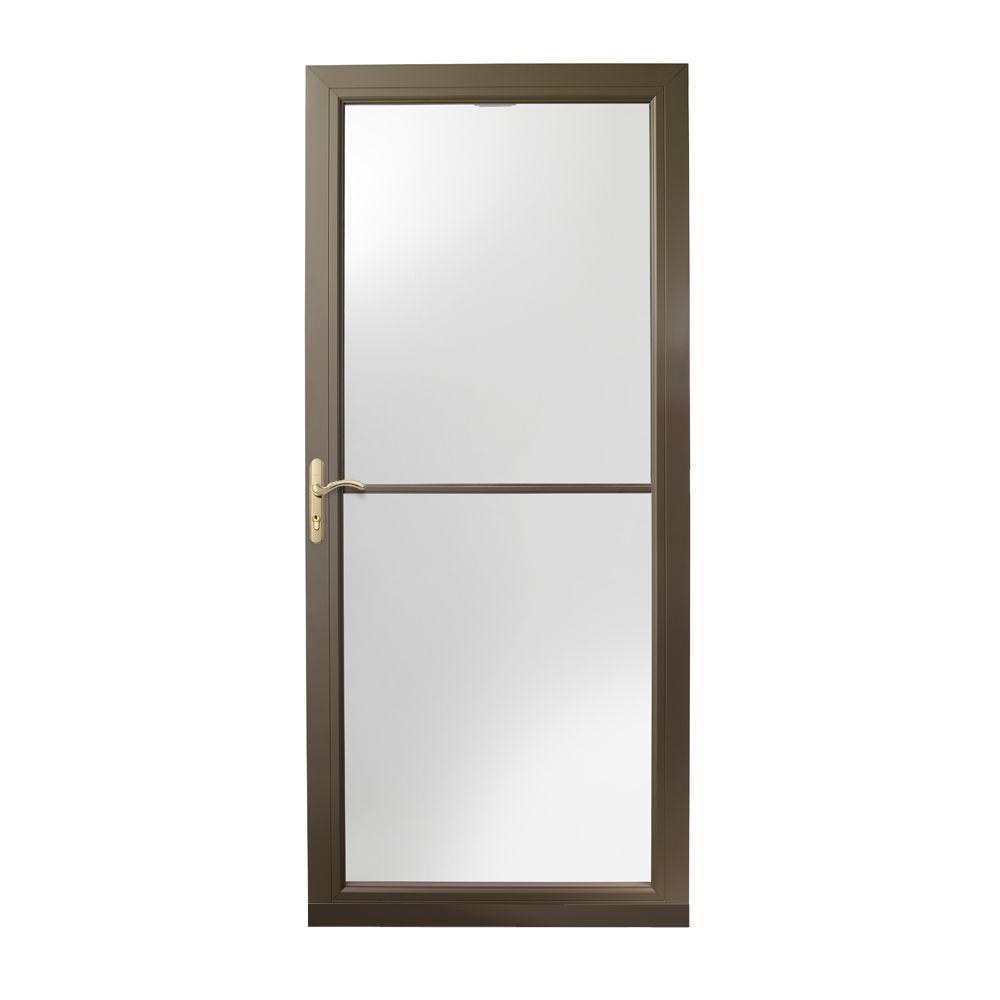 36 in. x 80 in. 3000 Series Terratone Left-Hand Self-Storing Easy Install Aluminum Storm Door with Brass Hardware