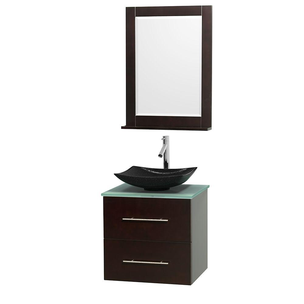 Wyndham Collection Centra 24 in. Vanity in Espresso with Glass Vanity Top in Green, Black Granite Sink and 24 in. Mirror