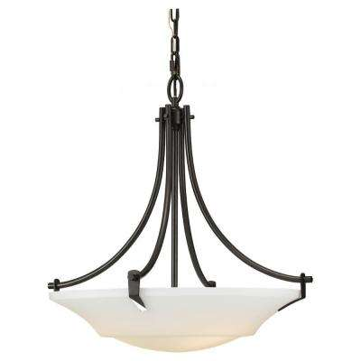 Barrington 22 in. W. 3-Light Oil Rubbed Bronze Uplight Chandelier with White Opal Etched Glass Shade