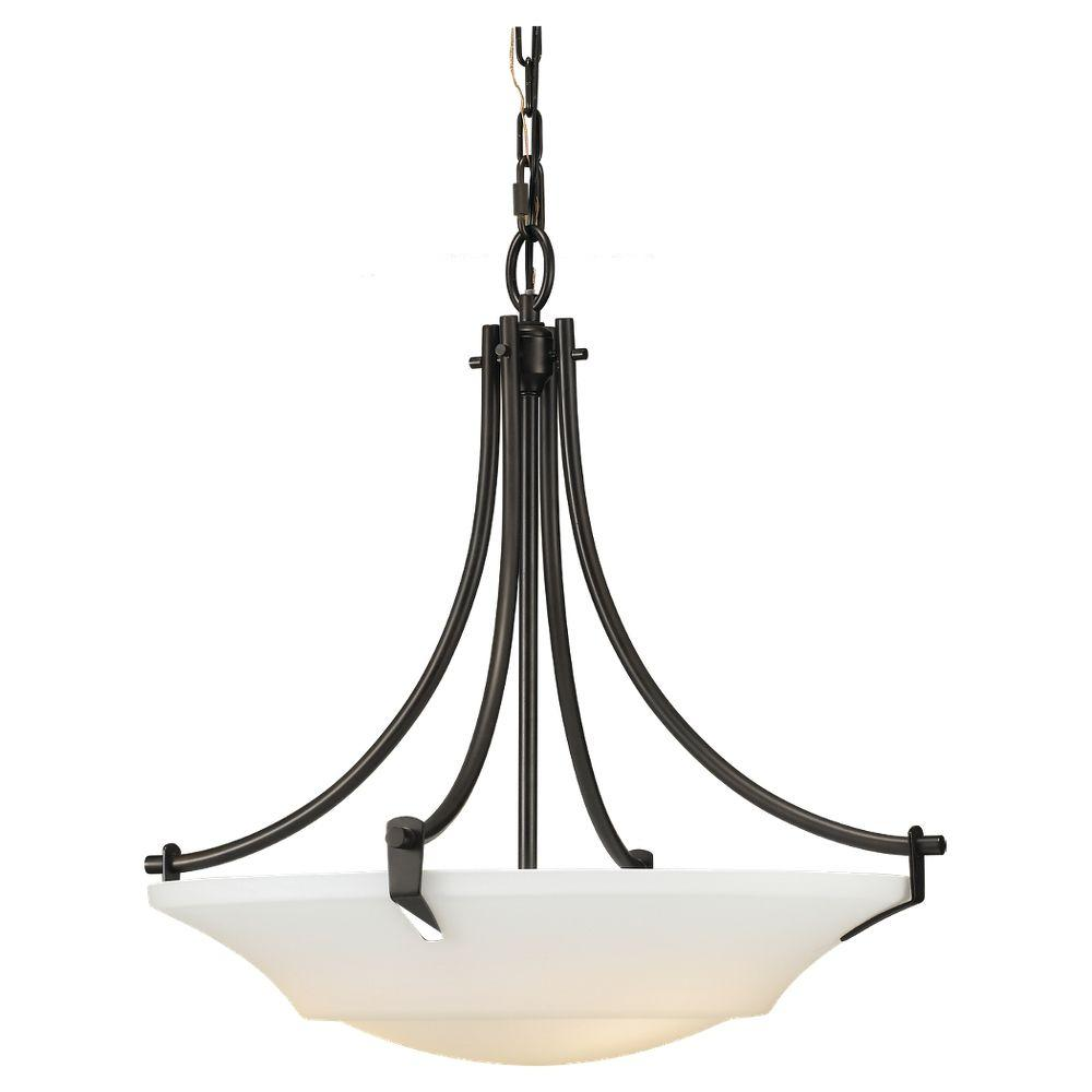 Sea Gull Lighting Barrington 22 in. W. 3-Light Oil Rubbed Bronze Uplight Chandelier with White Opal Etched Glass Shade