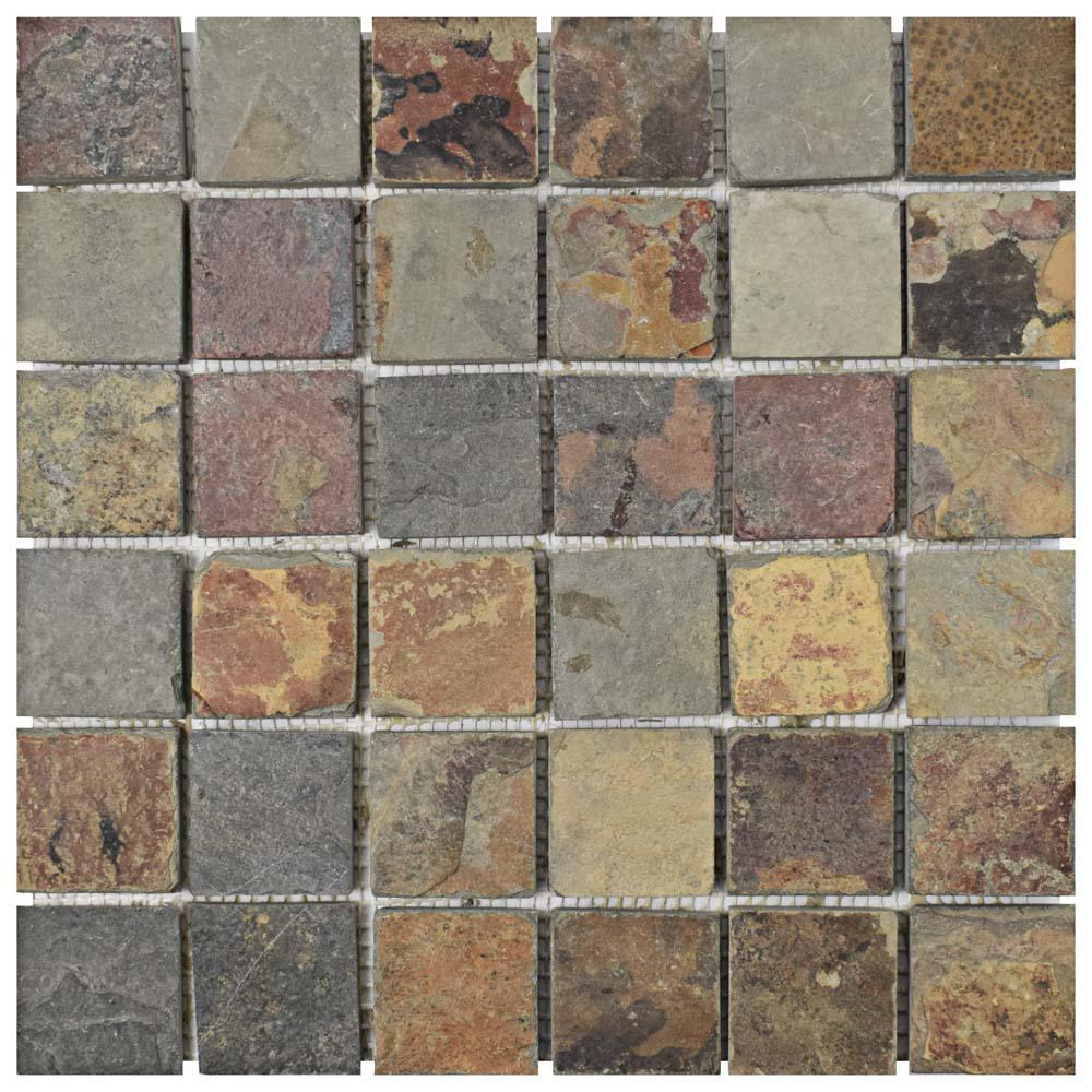 Crag Quad Sunset Slate 12 In X 13 Mm Natural Stone