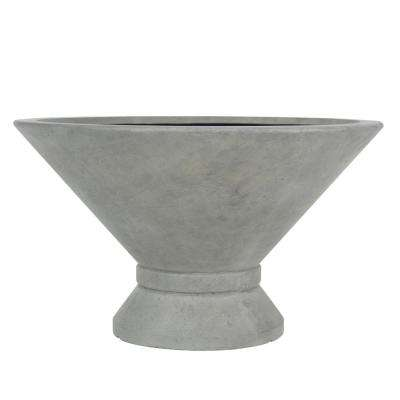 14 in. H Cast Stone Low Wide  Wet Cement Urn with Band