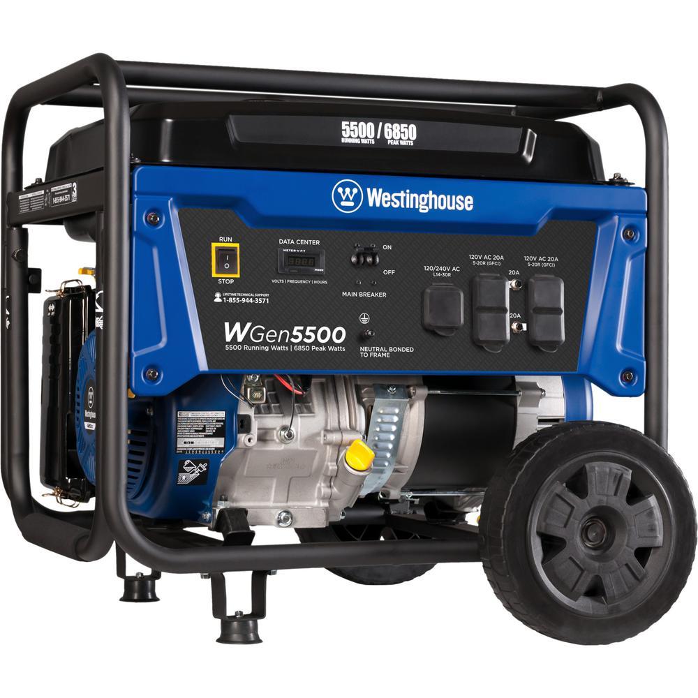 6,850/5,500-Watt Gasoline Powered Portable Generator with Digital Data Center