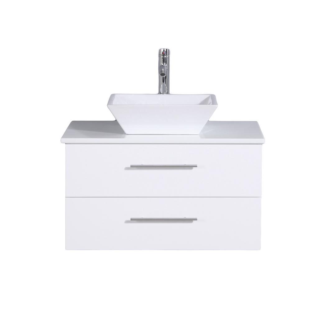 Eviva Totti Wave 24 in. W x 21 in. D x 22 in. H Vanity in White with Glassos Vanity Top in White with White Basin