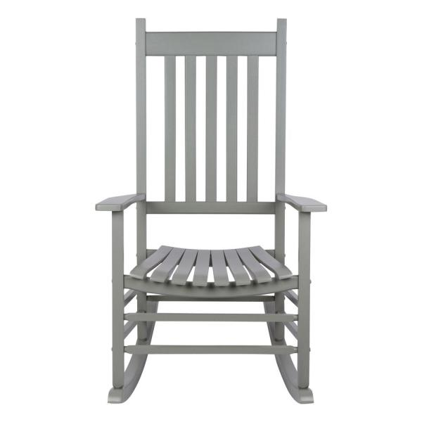 Vermont 45 in. Tall Storm Grey Wood Patio Porch Rocker