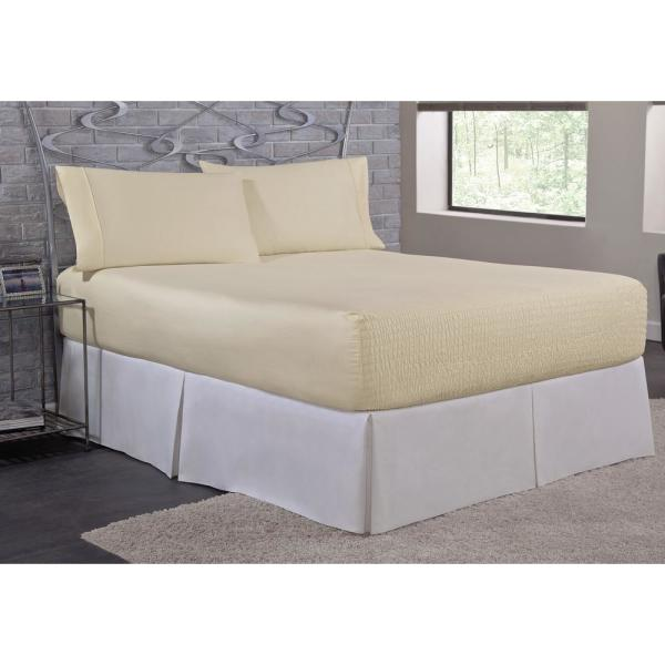 undefined Bed Tite Microfiber 4-Piece Ivory Solid 200 Thread Count Microfiber King Sheet Set