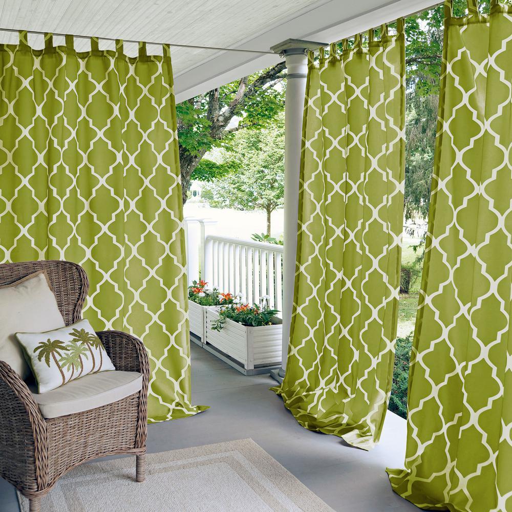 Corado 50 in. W x 84 in. L Indoor/Outdoor Tab Top Window Curtain Grass