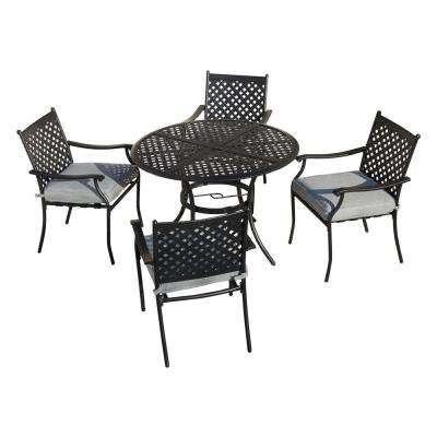 5-Piece Metal Outdoor Dining Set with Gray Cushions