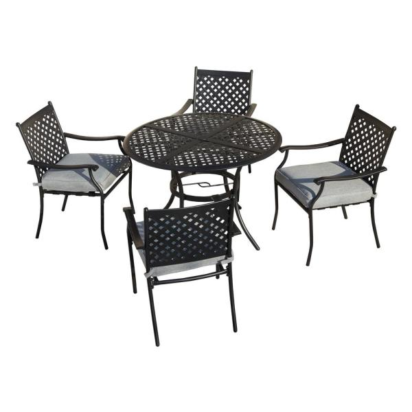Patio Festival 5 Piece Metal Outdoor Dining Set With Gray Cushions Pf19120 220 G The Home Depot