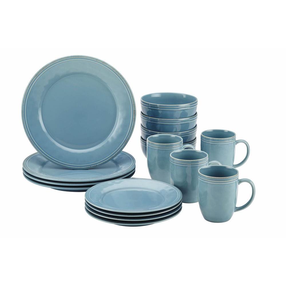 Cucina Dinnerware 16-Piece Stoneware Dinnerware Set in Agave Blue