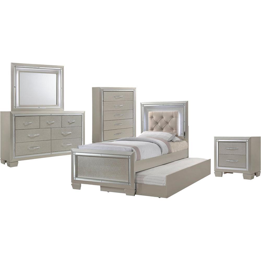 Beige Twin Set Bed Trundle Dresser Mirror Chest Nigh