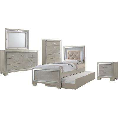 Elegance 5-Piece Champagne Twin-Size Bedroom Set  Bed with Trundle, Dresser, Mirror, Chest and Nightstand