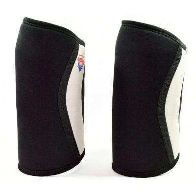 7mm Neoprene Large Support and Compression Knee Sleeves  for Weightlifting, Powerlifting and CrossFit in Black - 1 Pair