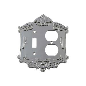 Nostalgic Warehouse Victorian Switch Plate with Toggle and Outlet in Bright... by Nostalgic Warehouse