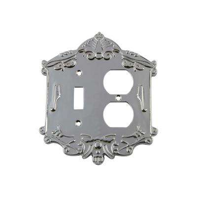 Victorian Switch Plate with Toggle and Outlet in Bright Chrome