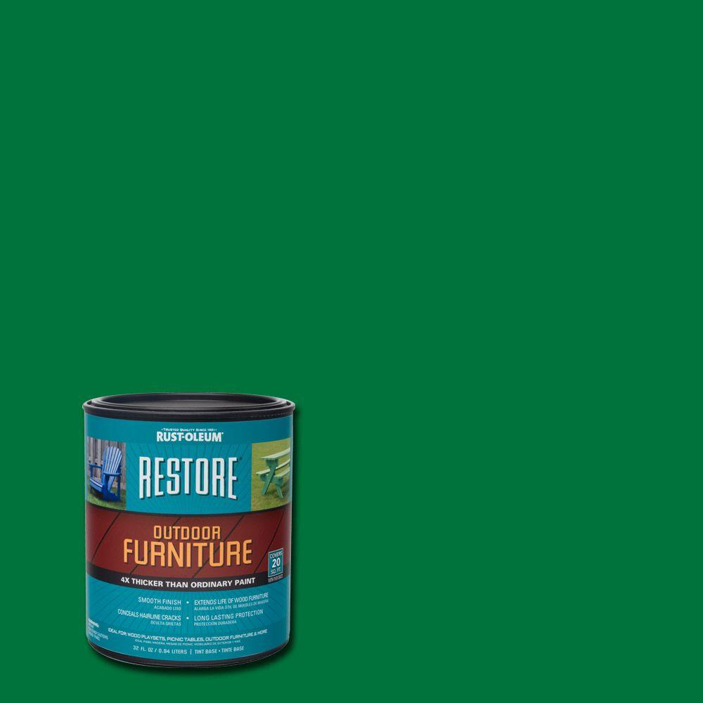 Rust Oleum Restore 1 Qt Meadow Green Outdoor Furniture Exterior Solid Stain 291575 The Home