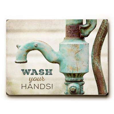 "9 in. x 12 in. ""Wash Your Hands"" by Lisa Russo Solid Wood Wall Art"