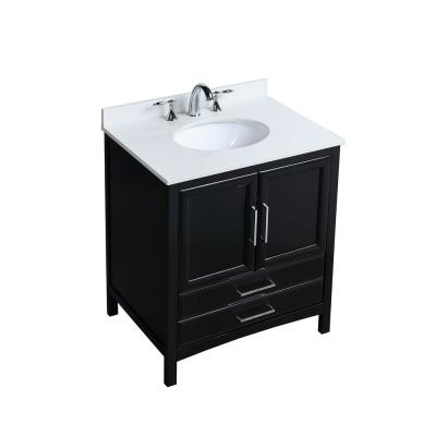 Vanity Art 30 in. W x 22 in. D x 35 in. H Bath Vanity in Espresso with Vanity Top in White Cultured Marble with White Basin