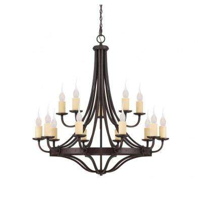 Hughes 15-Light Oiled Copper Chandelier