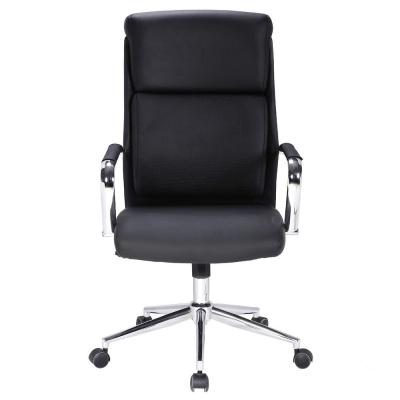 Ergonomic Mid Black Manager Office Swivel Chair with Thick Headrest and Lumbar Support