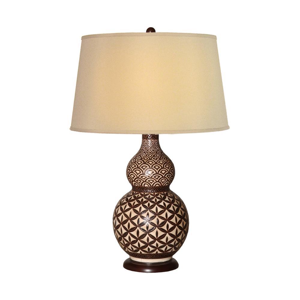 29 in. Brown Kobe Gourd Ceramic Vase Table Lamp