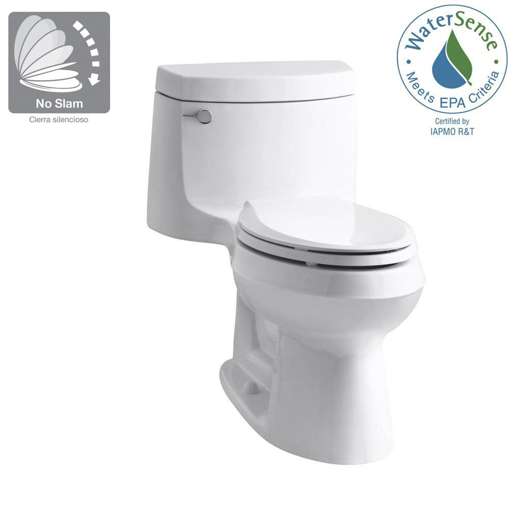 Kohler Cimarron 1 Piece 1 28 Gpf Single Flush Elongated Toilet With Aquapiston Flush Technology In White Seat Included K 3828 0 The Home Depot