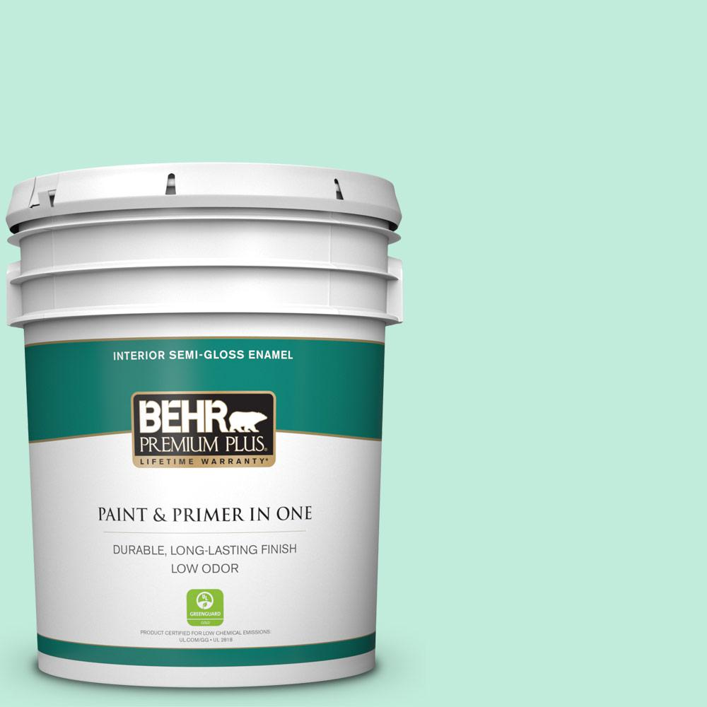 Behr Premium Plus 5 Gal 470a 2 Seafoam Pearl Semi Gloss Enamel