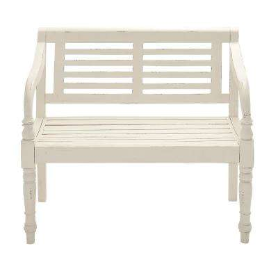 36 in. x 40 in. Wooden White Bench in Matte White