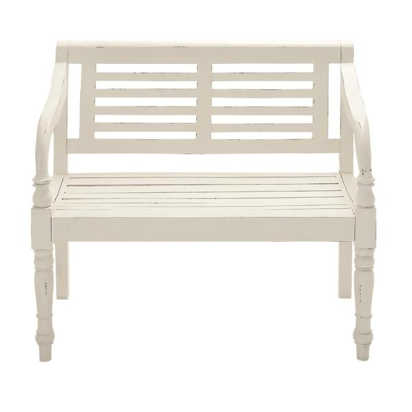 Stupendous Decor Therapy Kyoto Antique White Bench Fr1592 The Home Depot Andrewgaddart Wooden Chair Designs For Living Room Andrewgaddartcom