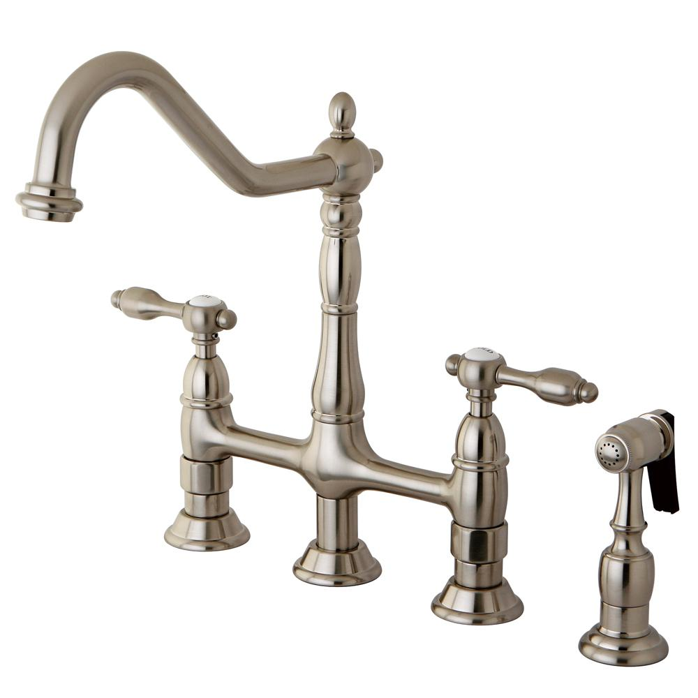 Superior Kingston Brass Victorian 2 Handle Bridge Kitchen Faucet With Side Sprayer  In Satin Nickel