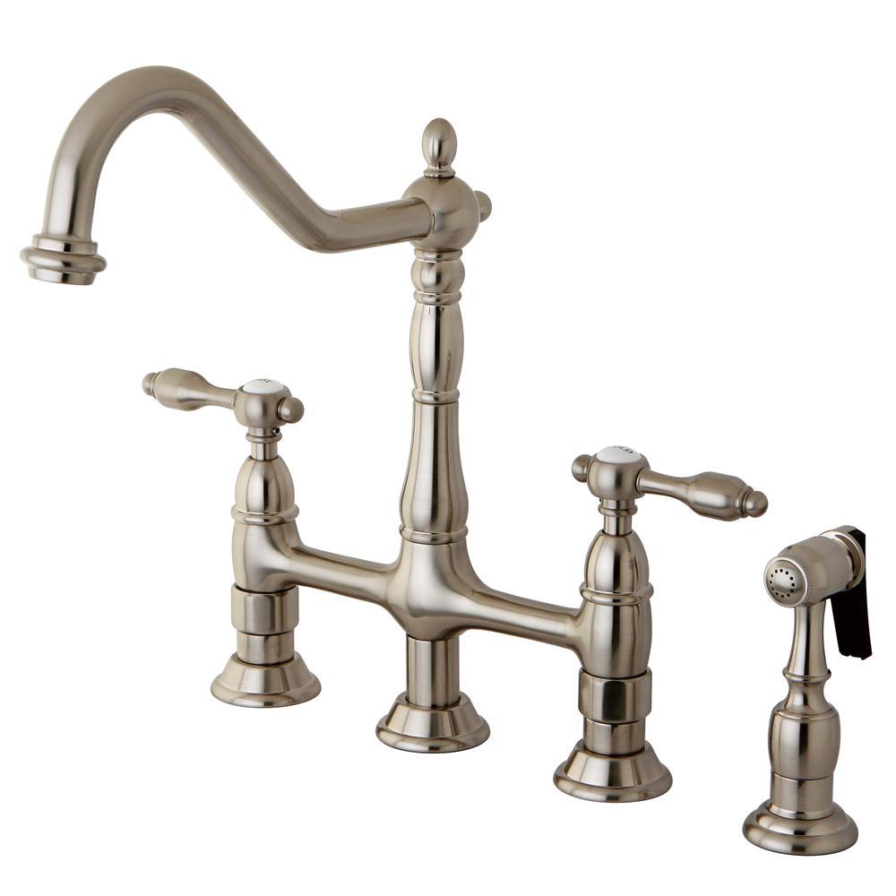 Captivating Victorian 2 Handle Bridge Kitchen Faucet With Side Sprayer In Satin Nickel
