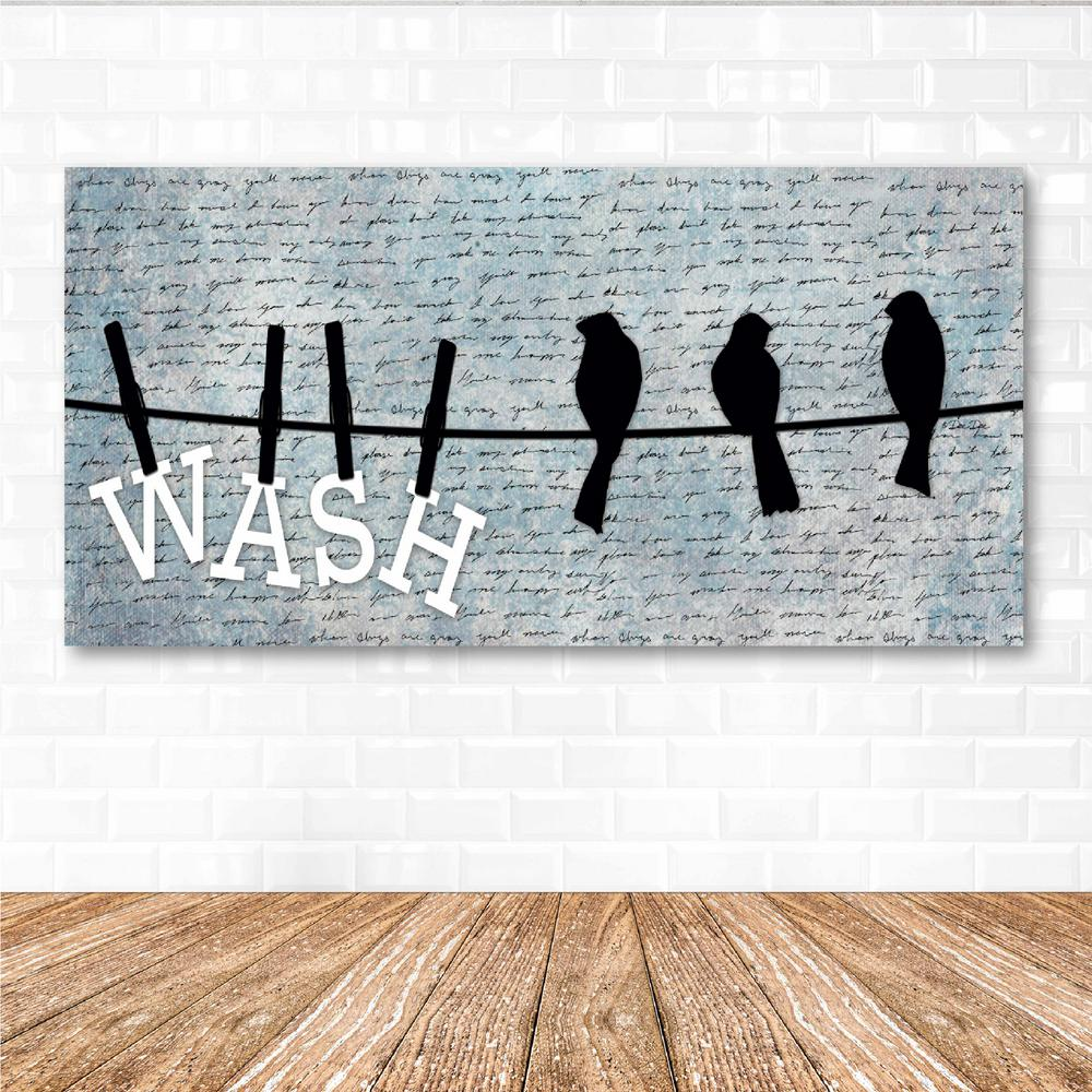 """Courtside Market Courtside Market 12 in. x 24 in. """"Wash"""" Canvas Printed Wall Art, Black"""