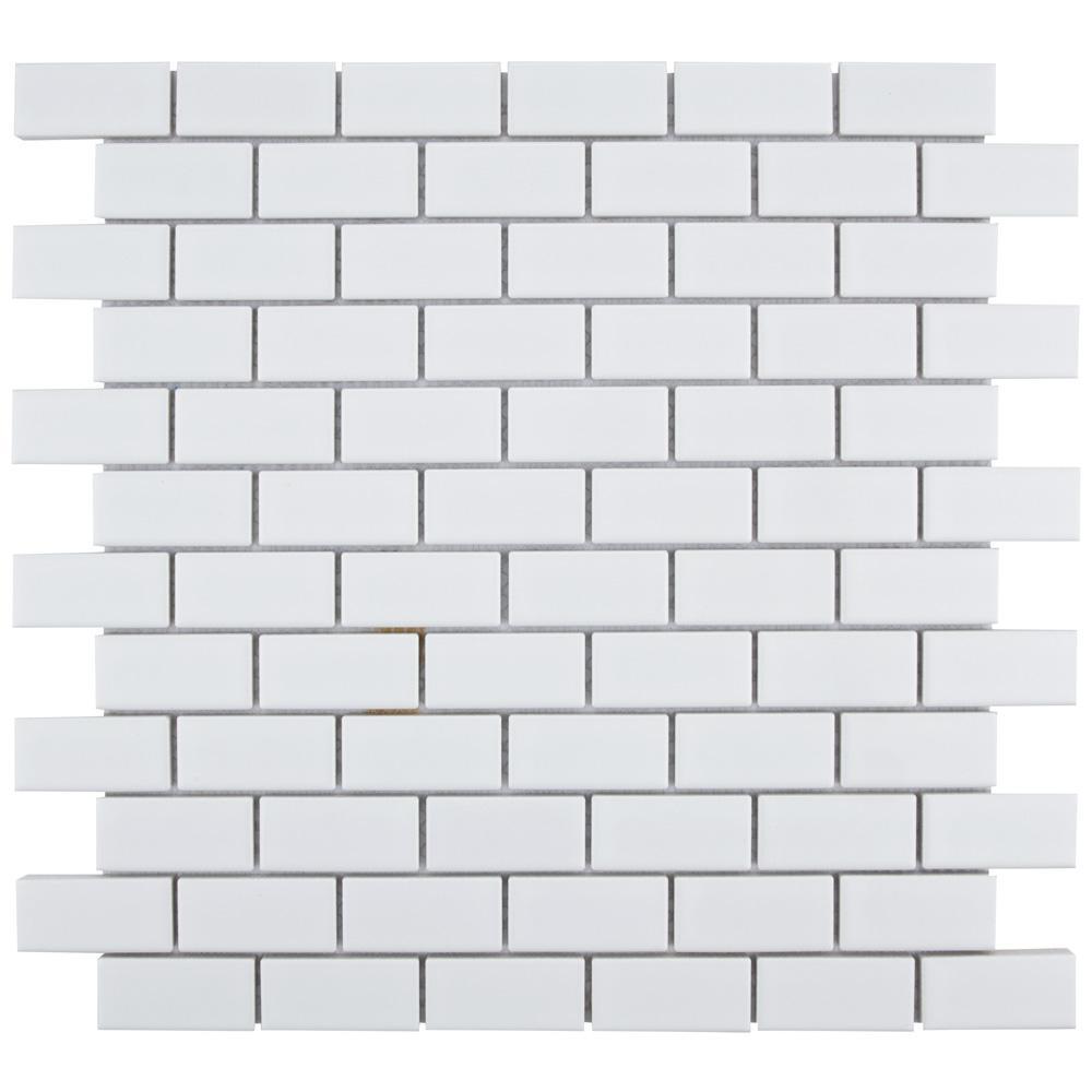 Merola Tile Metro Subway Matte White 11 3 4 In X 5 Mm Porcelain Mosaic 9 8 Sq Ft Case
