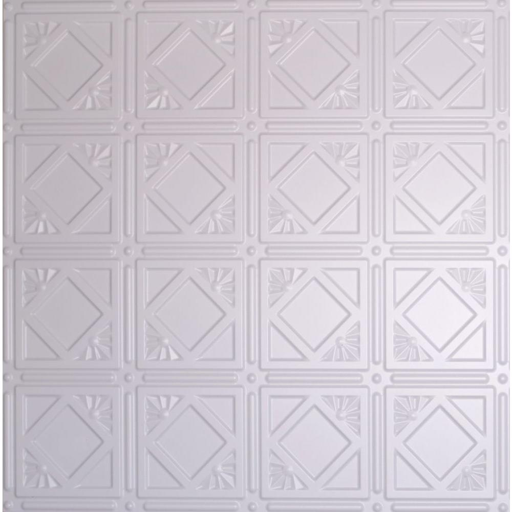 Global Specialty Products Dimensions 2 ft. x 2 ft. White Tin Ceiling Tile for Refacing in T-Grid Systems