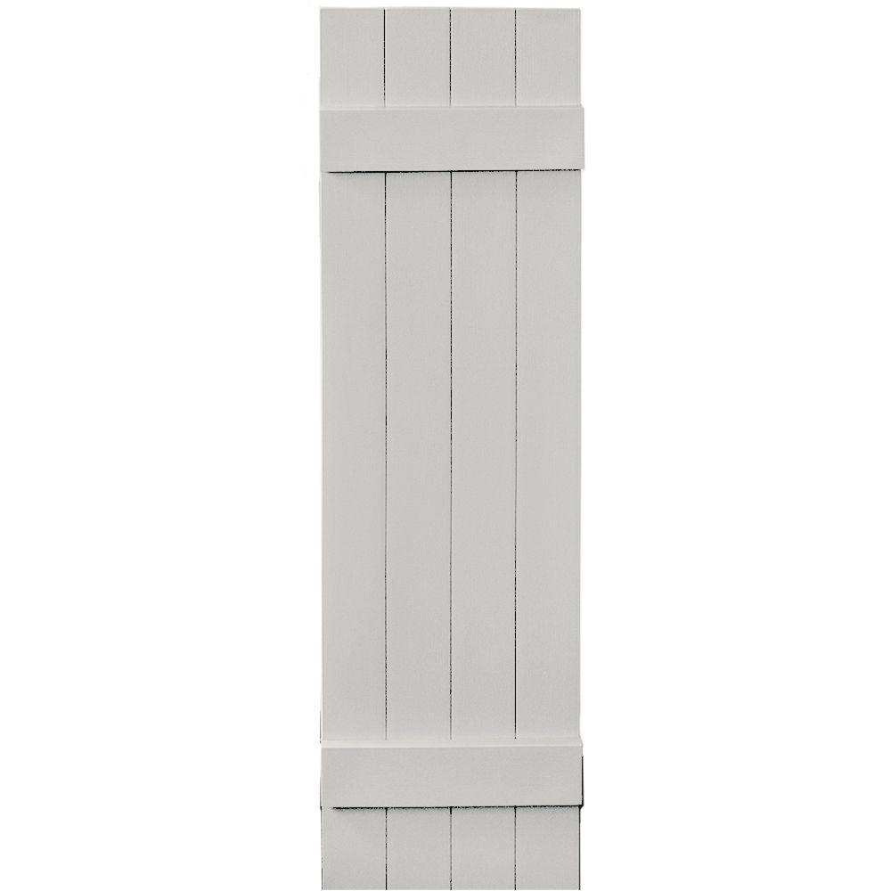 14 in. x 51 in. Board-N-Batten Shutters Pair, 4 Boards Joined