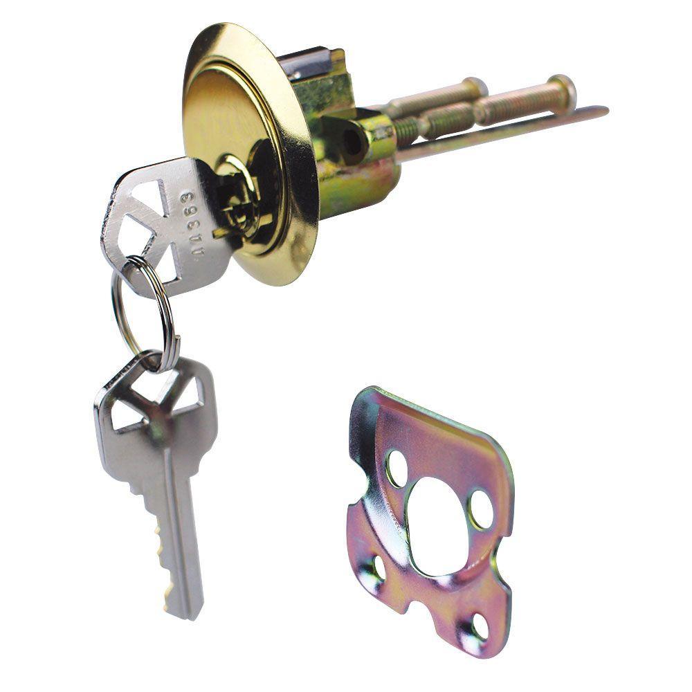 Defiant Bright Brass Kwikset Rim Cylinder