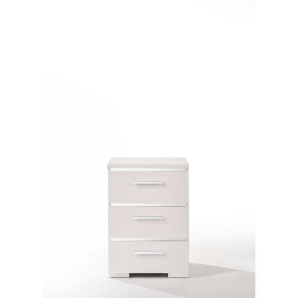 Amelia 3-Drawer 15 in. x 18 in. x 25 in. White Wood Veneer Nightstand